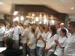 Régis Marcon et l'équipe de cuisine de l'école Ferrandi.